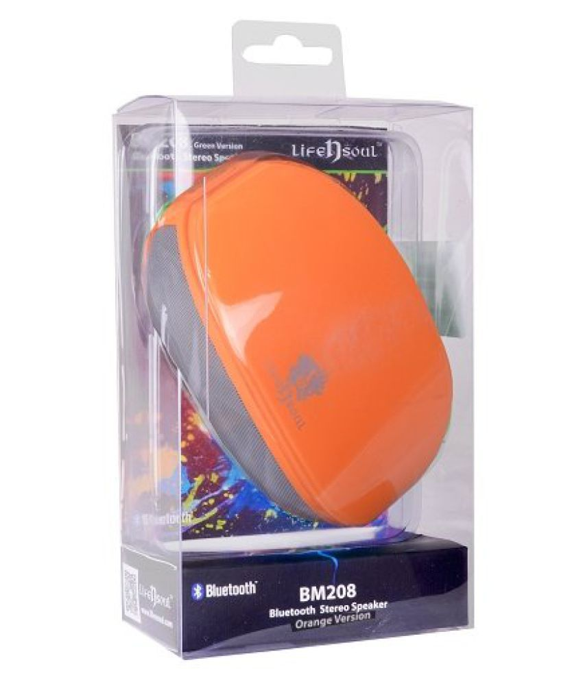 Life N Soul BM208-O Bluetooth Stereo Speaker w/3.5mm Auxiliary Port (Orang, Pick up and answer calls once Bluetooth is successfully paired) Orange