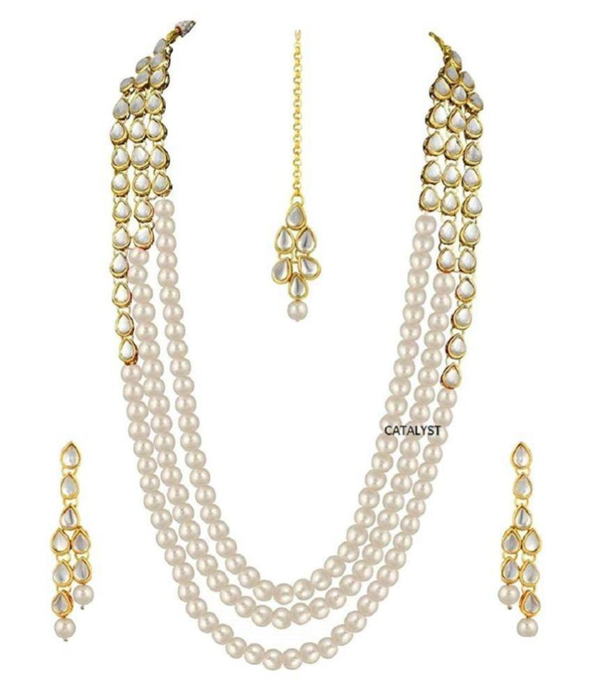 e8a9e0a36663 Catalyst Pearls Off White Long Haram Designer Gold Plated Necklaces Set  +Free Necklace set of Rs.299 - Buy Catalyst Pearls Off White Long Haram  Designer ...