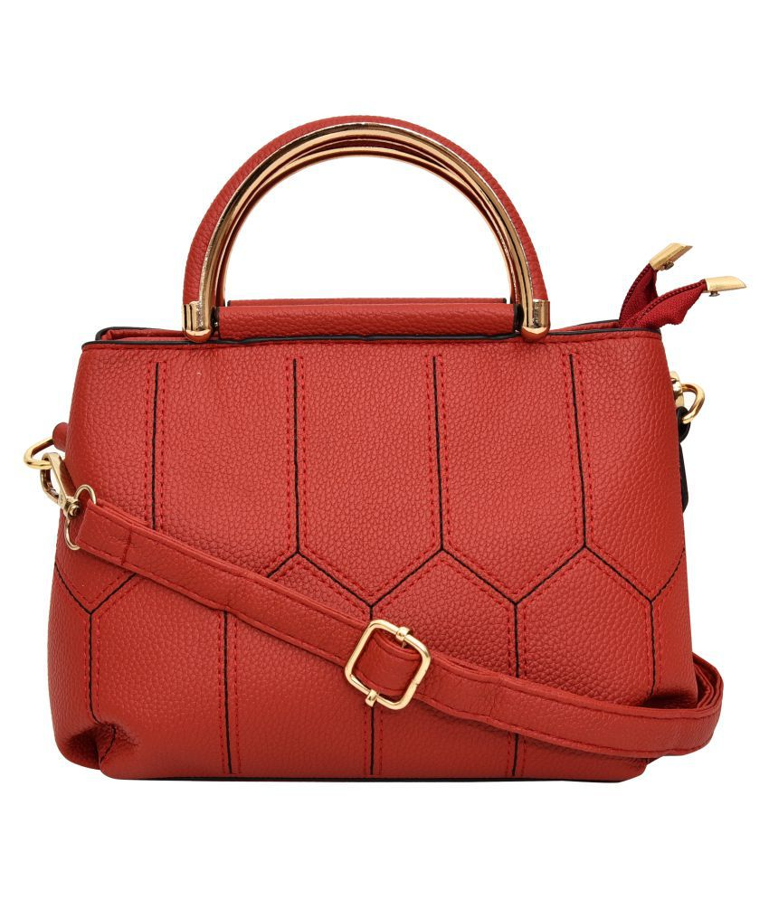 Ft Red Faux Leather Sling Bag