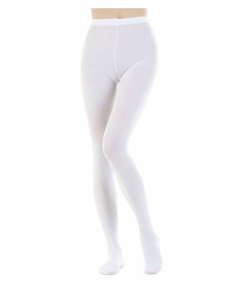 Neska Moda Women #039;s White Panty Hose Long Comfort Stockings Tights