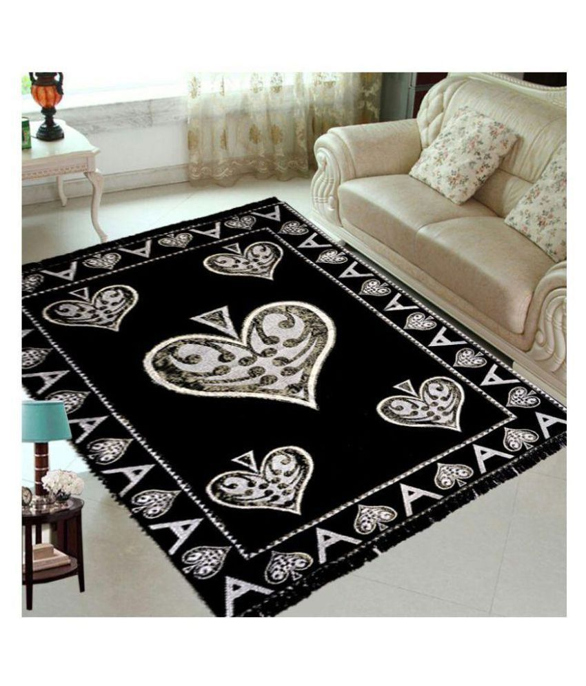 Laying Style Black Chenille Carpet Printed 5x7 Ft