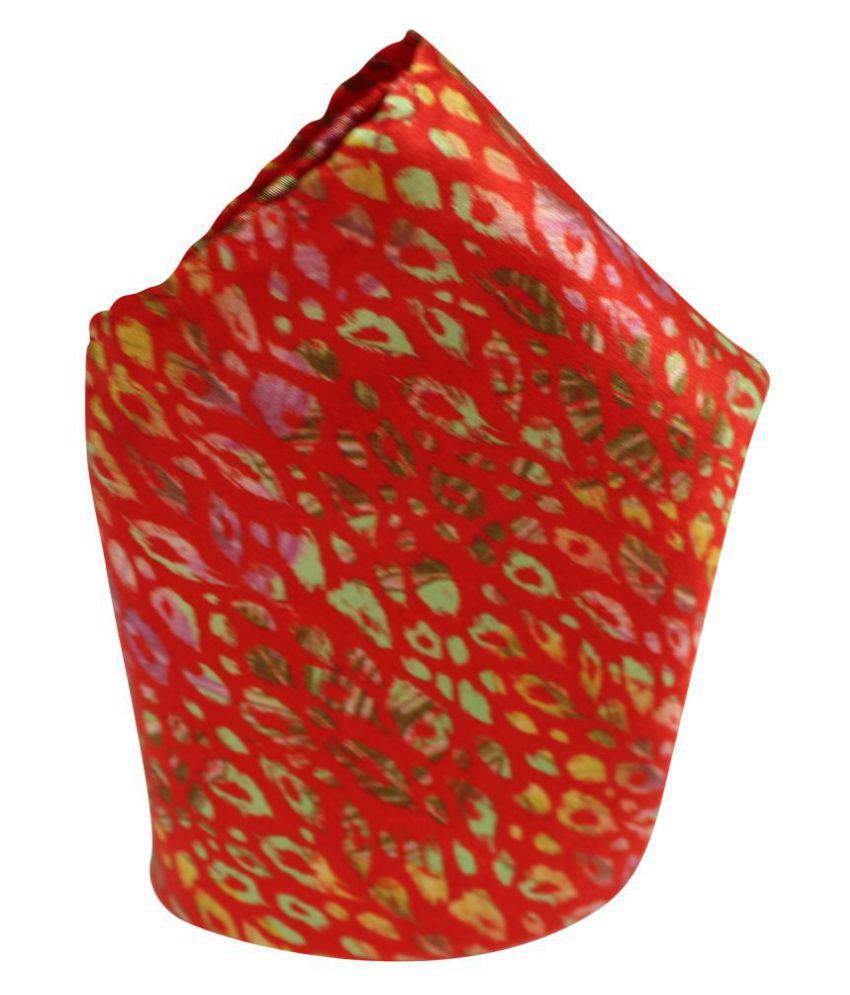 Leonardi Men's Red Polyester Free Size Printed Pocket Square