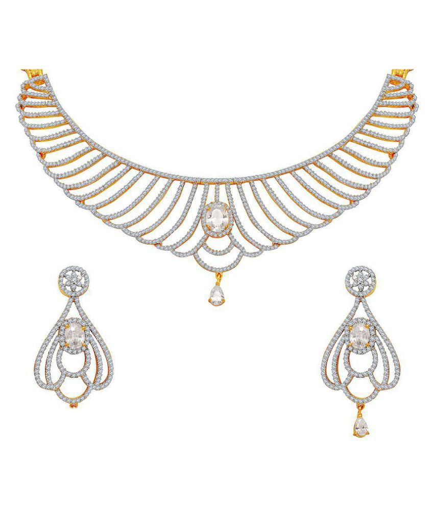 M J Fashion Jewellery Brass Golden Choker Traditional Gold Plated Necklaces Set