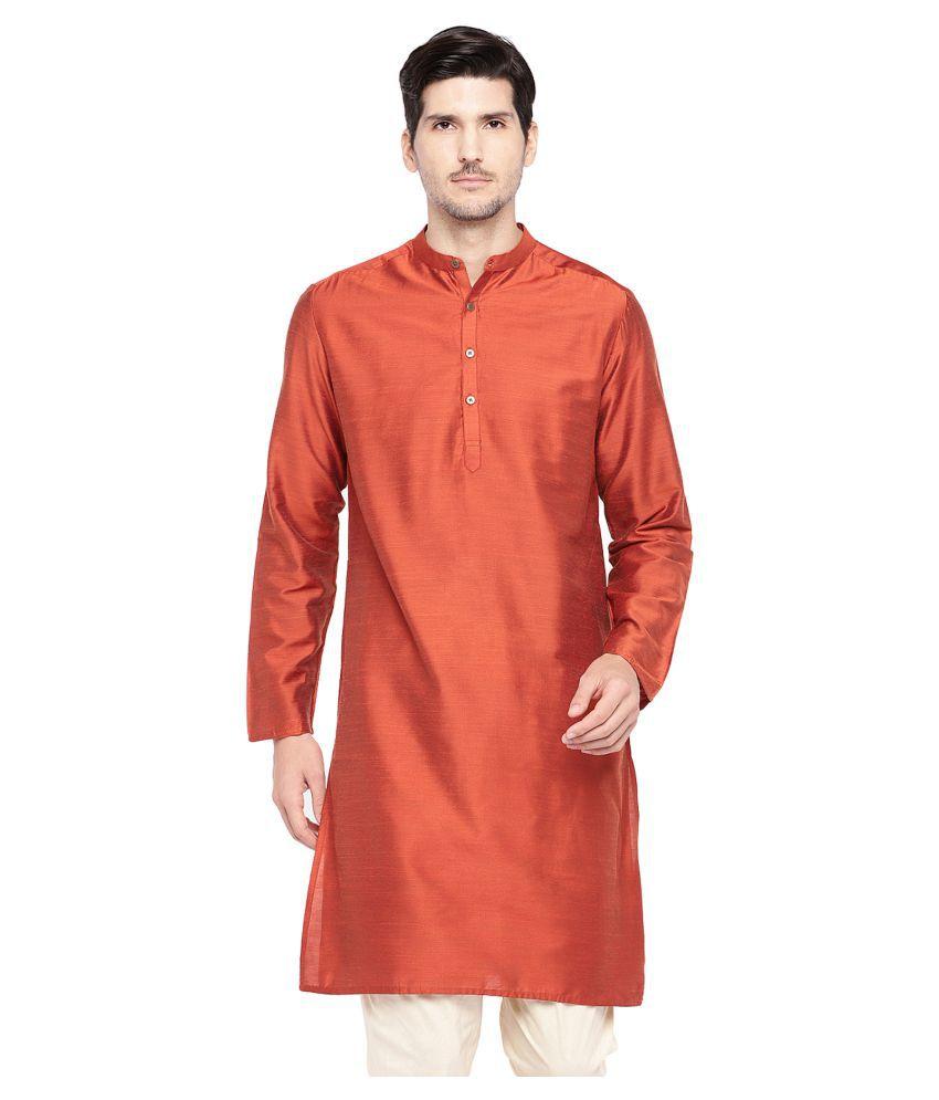 Salwar Studio Orange Silk Blend Kurta Single