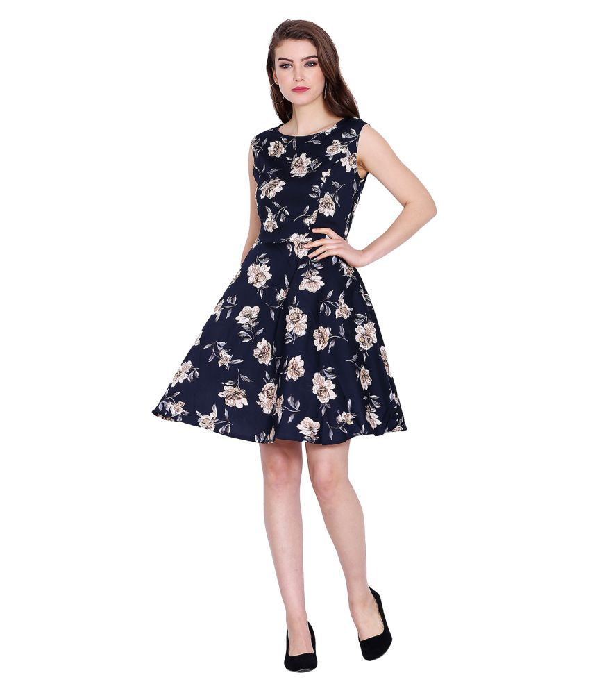 Tag 7 Poly Crepe Navy Fit And Flare Dress