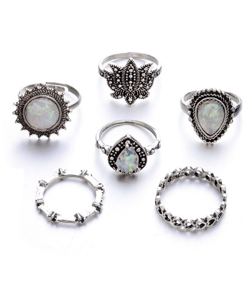 6 RingsSet Fashion New Bohemian Vintage Women Alloy Finger Rings Punk Ring Gift Fashion Jewellery