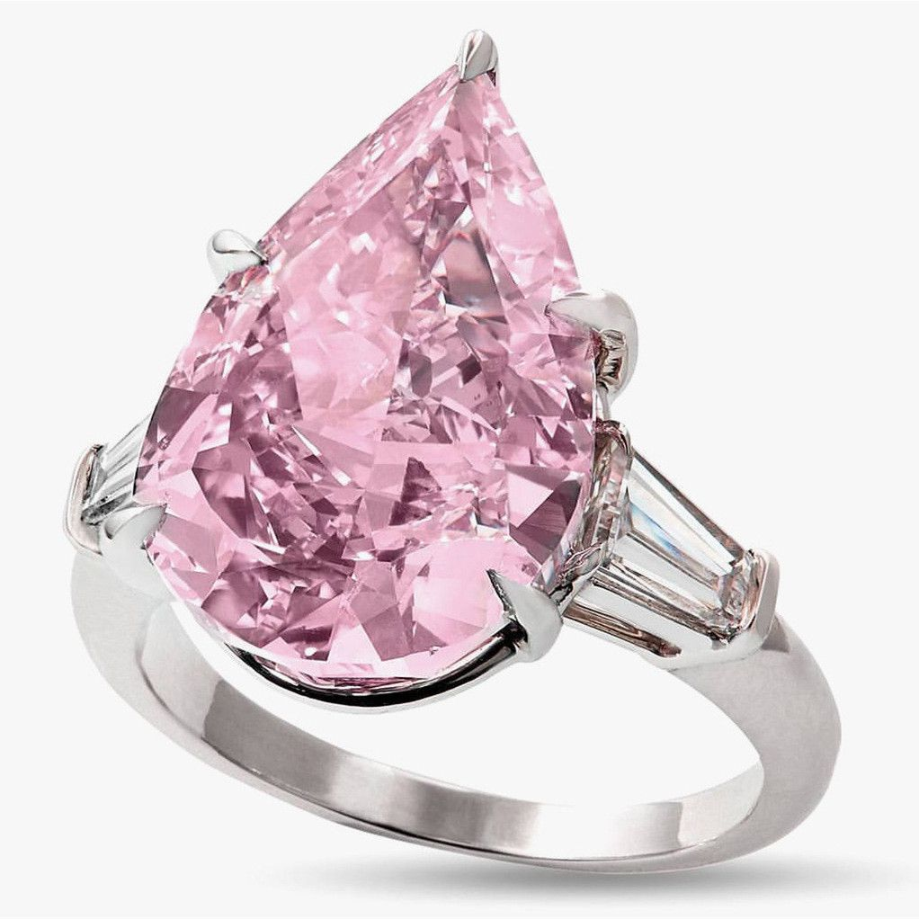 Exquisite Pink Diamond Geometry Water Drop Pointed Ring Ladies Jewelry Gift Fashion Jewellery