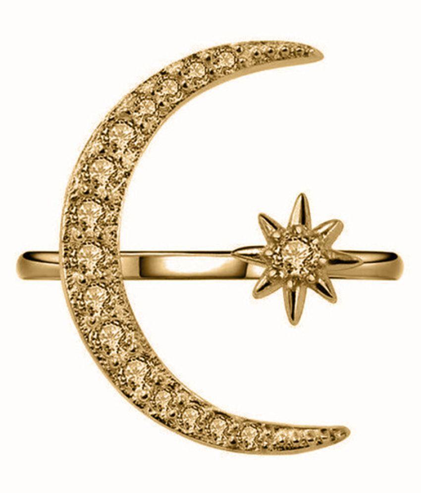 Fashion Simple Multicolor Diamond Moon Hexagonal Star Ladies Ring Jewelry Fashion Jewellery