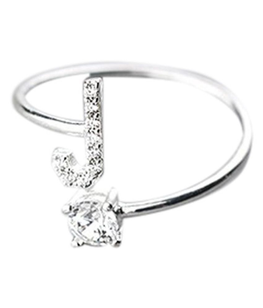 Fashionable And Simple Opening 26 Letters With Diamond Ring Ladies Jewelry Fashion Jewellery