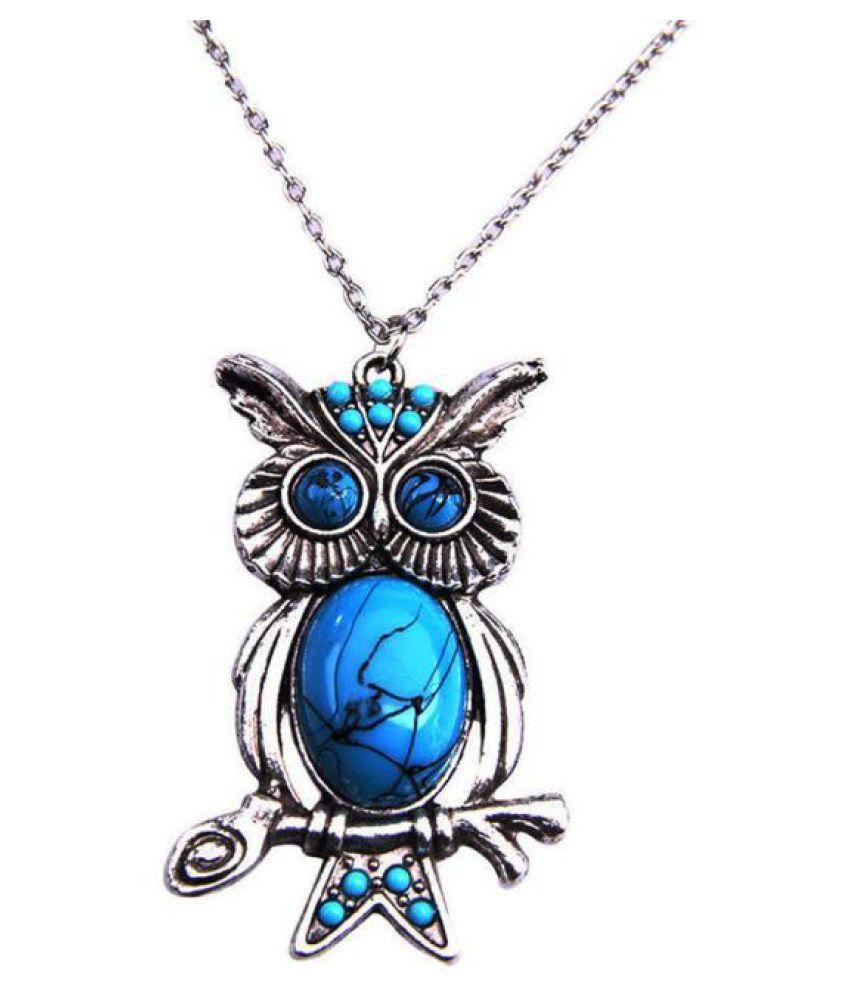 National Wind Retro Fashion Turquoise Necklace Owl Pendant Long Necklace Sweater Fashion Jewellery