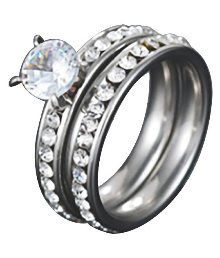 Stainless Steel Zircon Ring Rhinestone Stainless Steel Couple Ring Fashion Jewellery