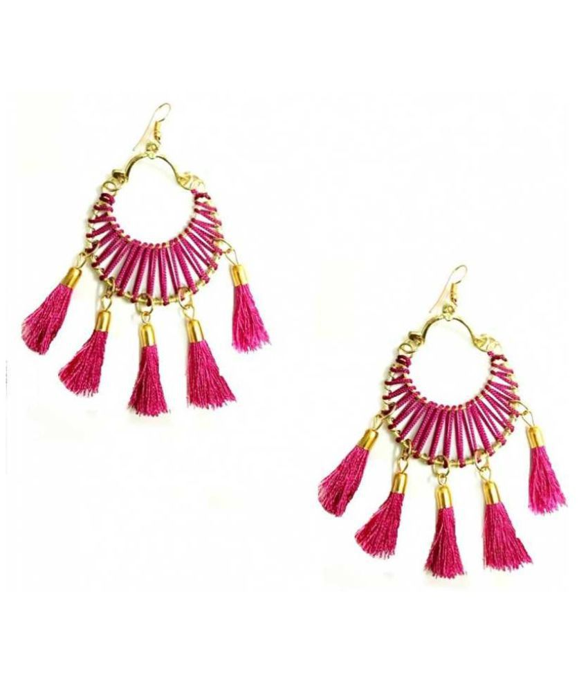 Zaffre Round 5 Tassel Circle Hoop Style Tassel Earrings - Magenta Alloy Tassel Earring