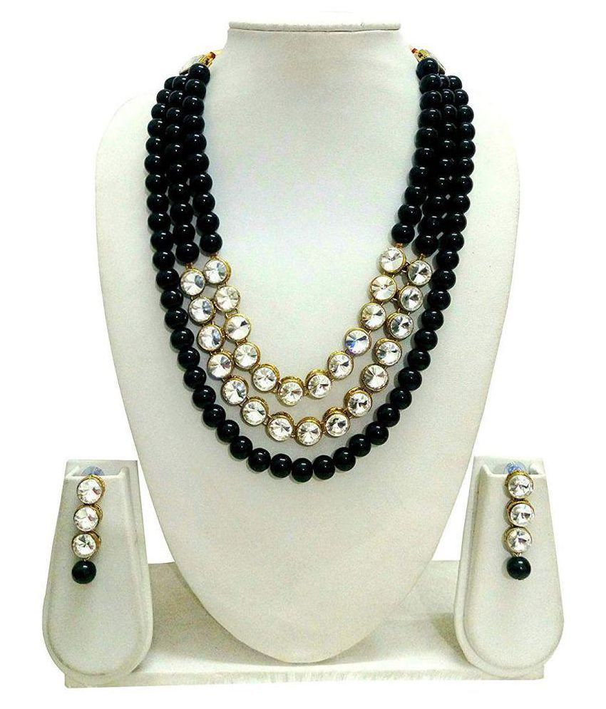 Catalyst Pearls White Collar Traditional Gold Plated Necklace set Combo
