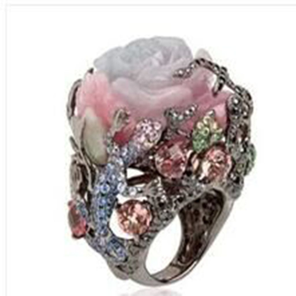 Luxury Vintage Rose With Diamonds Exaggerated Ring Jewelry Fashion Jewellery