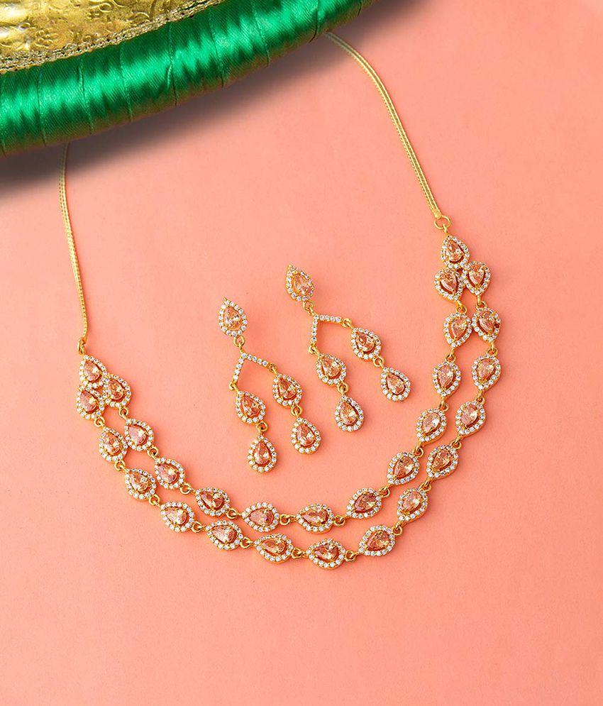 Voylla Brass Golden Contemporary Designer Gold Plated Necklaces Set
