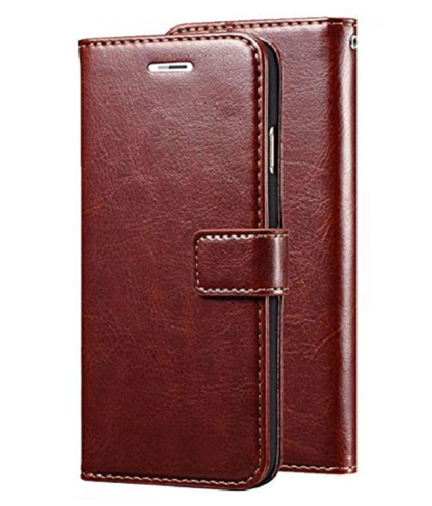 Oppo R17 pro Flip Cover by Doyen Creations - Brown Original Vintage Look Leather Wallet Case