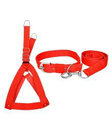 VIP COLLECTION Premium High Quality Strong Nylon Everyday dog Collar Leash Buckle dog Harness Set Combo Color-Red