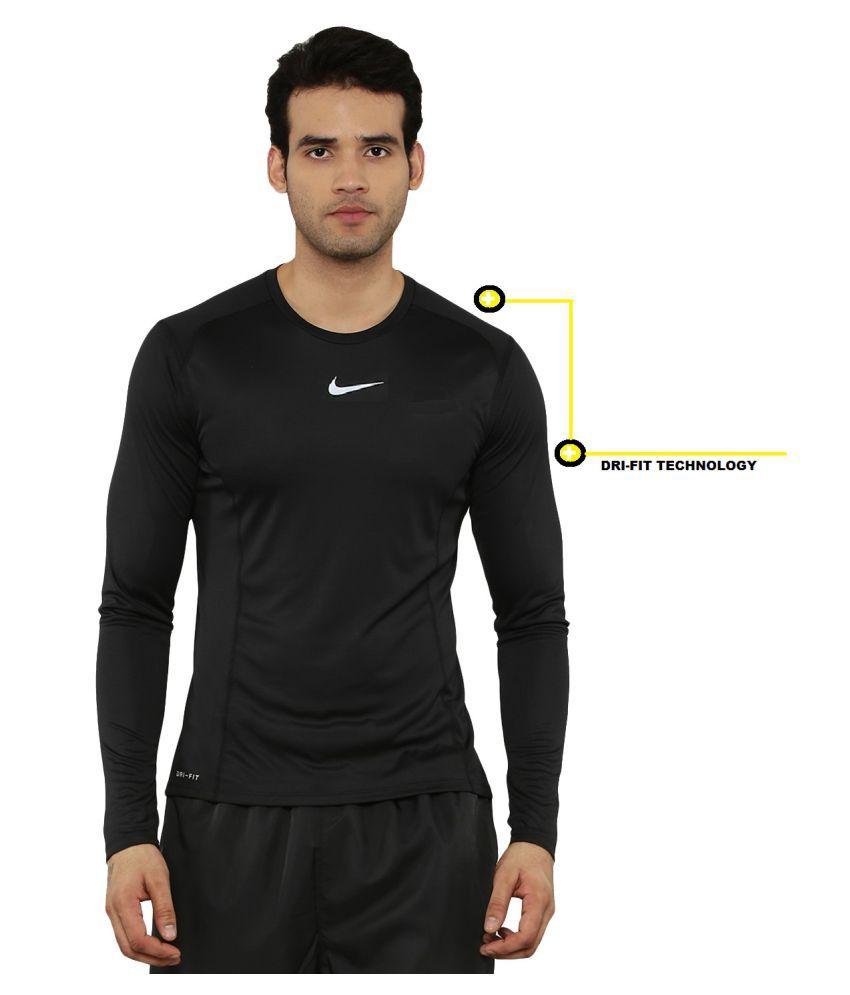 Nike Cotton Blend Blue Solids T-Shirt