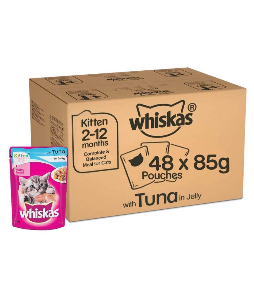 Whiskas Super Saver Pack, Kitten Wet Cat Food (2-12 months), Tuna in Jelly 4.08 kg (85g x 48 Pouches)