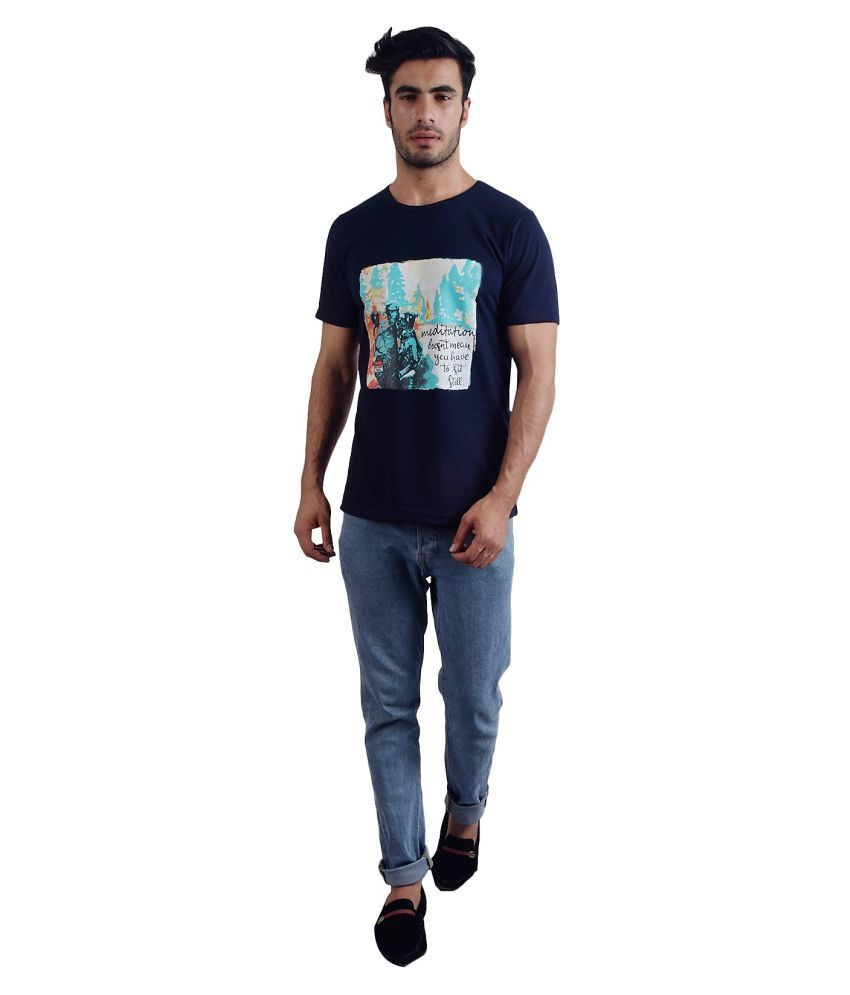 PAWS DE SQUARE Cotton Blend Navy Printed T-Shirt