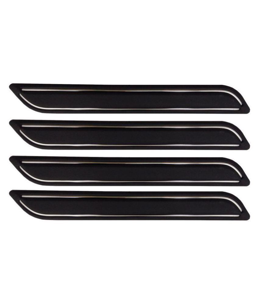 Ek Retail Shop Car Bumper Protector Guard with Double Chrome Strip (Light Weight) for Car 4 Pcs  Black for Hyundaii10GrandEra1.2KappaVTVT