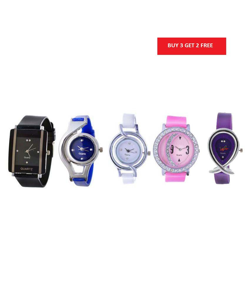 Glory multicolor analog Watches Pack of - Buy 3 Get 2 Free
