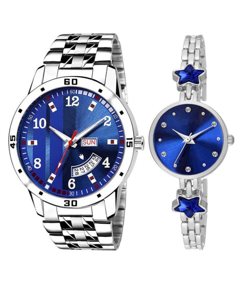 Herita Enterprise men and women analogue stylish fashionalble couple watch pack of 2 with 1364956636