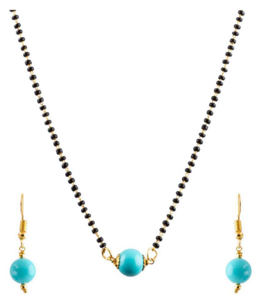 Jewellery for Less Onxy Beads Stone Designer Mangalsutra with Earrings for Women with Free Pearl Pendant Set