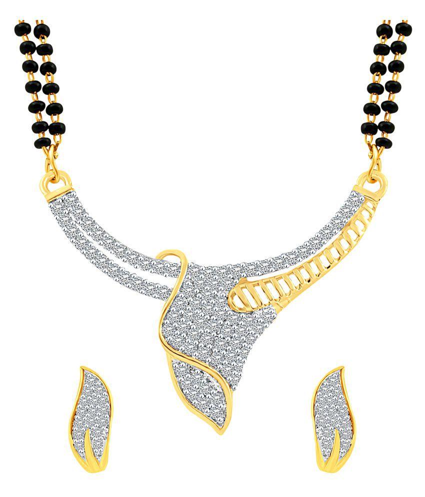MFJ Fashion Jewellery Eye-Catchy Brass Gold Plated Mangalsutra Set For Women