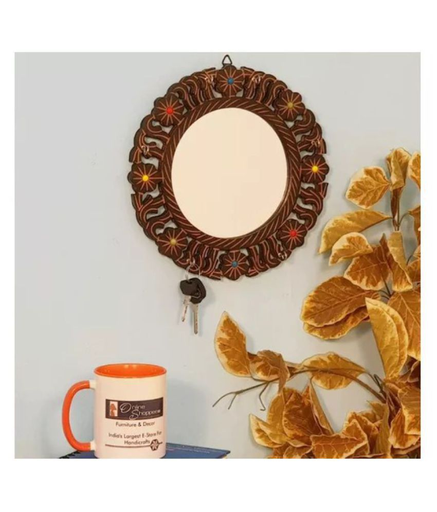 Onlineshoppee Mirror Wall Mirror Brown ( 25 x 2 cms ) - Pack of 1