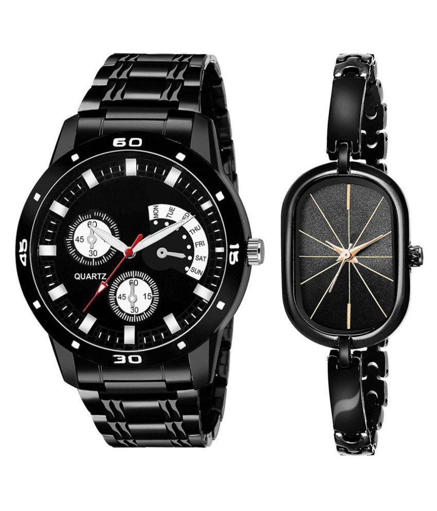 Vrutti enterprise men and women analogue stylish fashionalble couple watch pack of 2 with 1364956654
