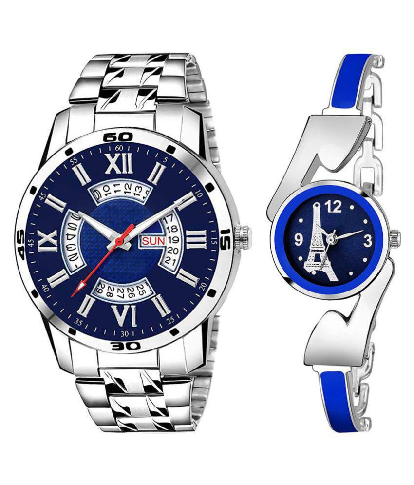 vasant impex men and women analogue stylish fashionalble couple watch pack of 2 with 1364956638