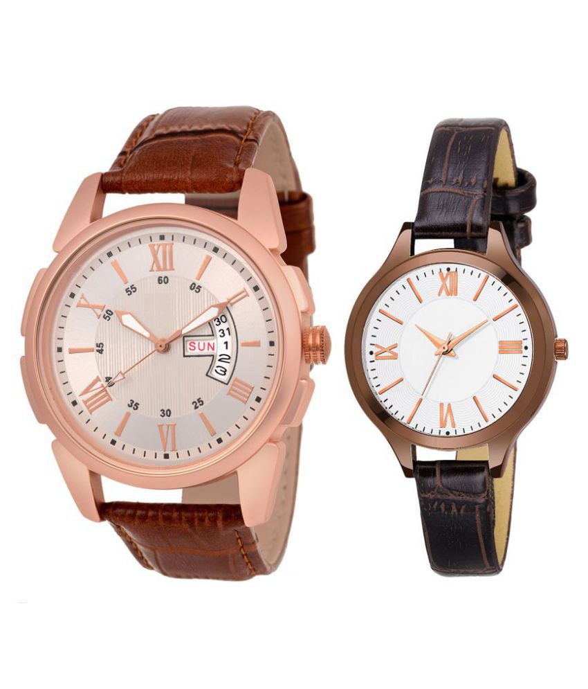 vasant impex men and women analogue stylish fashionalble couple watch pack of 2 with 1364956605