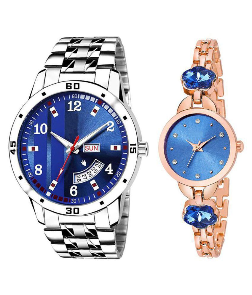 vasant impex men and women analogue stylish fashionalble couple watch pack of 2 with 1364956635