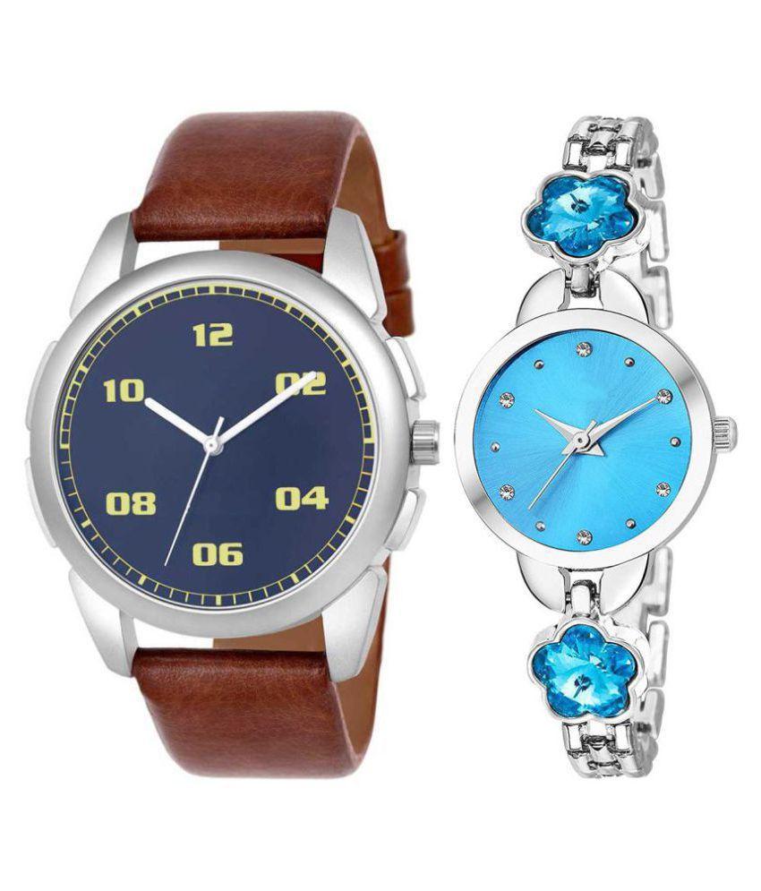 Vrutti enterprise men and women analogue stylish fashionalble couple watch pack of 2 with 1364956672