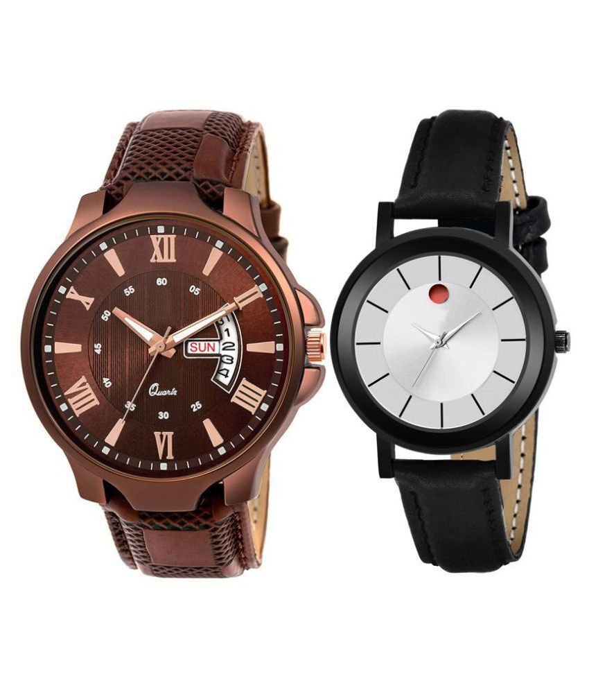 Vrutti enterprise men and women analogue stylish fashionalble couple watch pack of 2 with 1364956629
