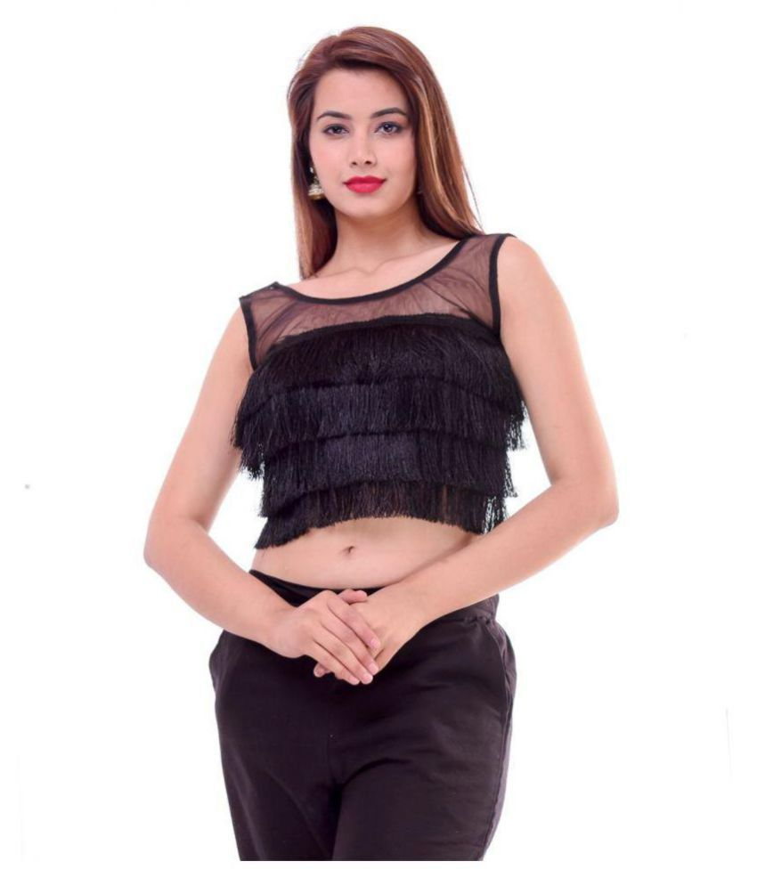 Wow Black Silk Readymade with Pad Blouse