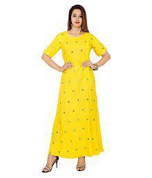 Lakshita Yellow Rayon Anarkali Kurti