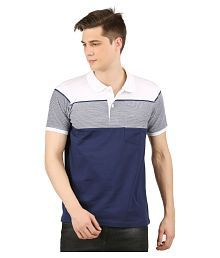 Wexford Cotton Blend Navy Color Block Polo T Shirt