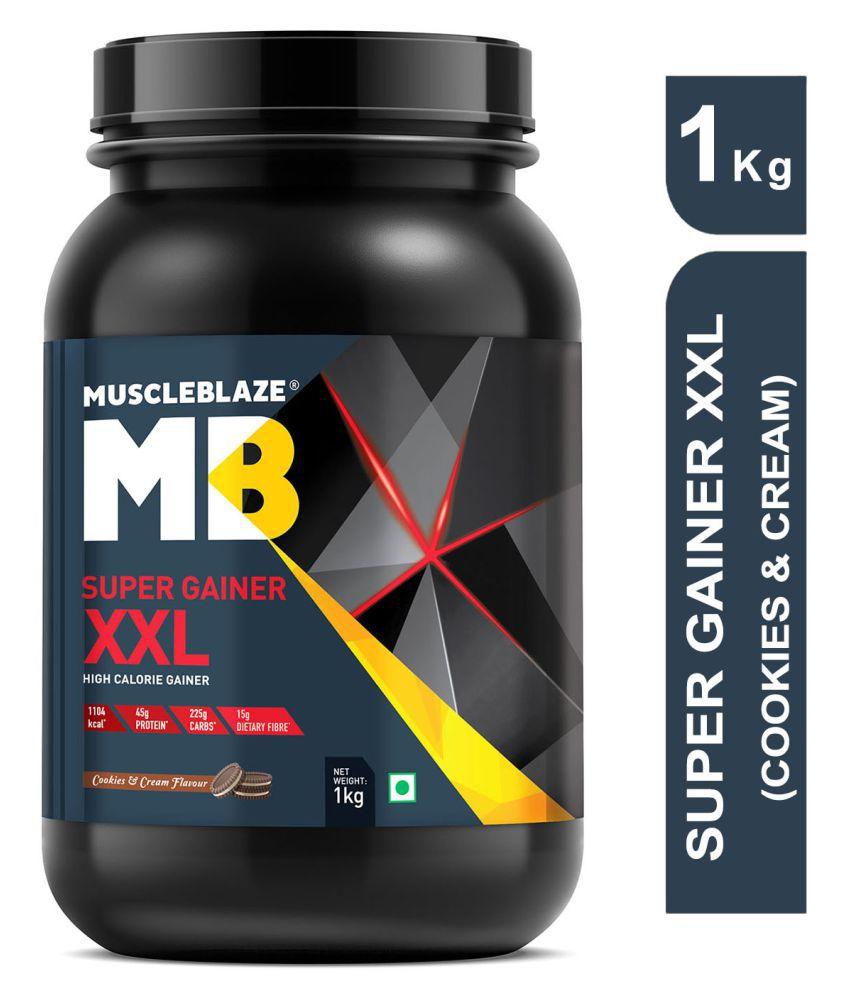 MuscleBlaze Super Gainer XXL, 1 kg Weight Gainer Powder