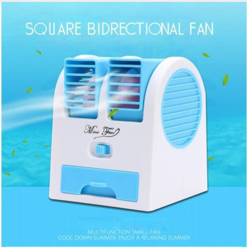 Riddhi Siddhi Air Conditioner Cooling Fan Cooling Portable Desktop Dual Bladeless Air Cooler, Mini Cooler, Mini USB Cooler Fan USB Air Freshener (Blue)