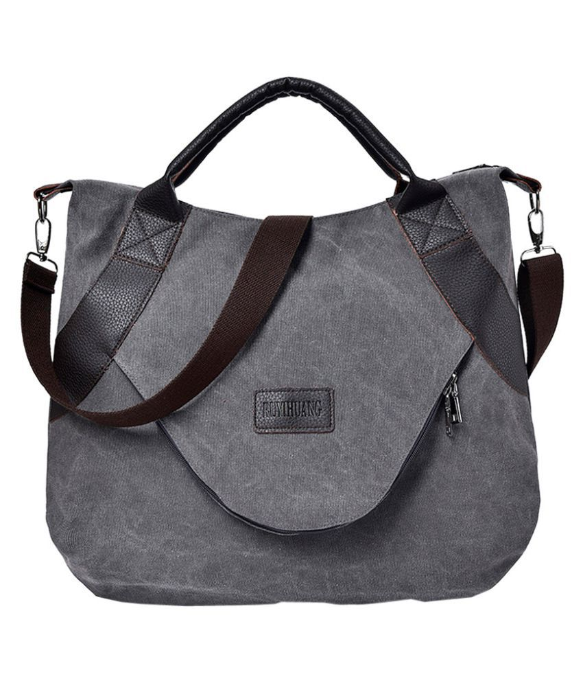 Pouches Bags and Storage for Your Fashion Needs Gray Retro Womens Canvas Zipper Shoulder Bags With Corssbody BagHandbag