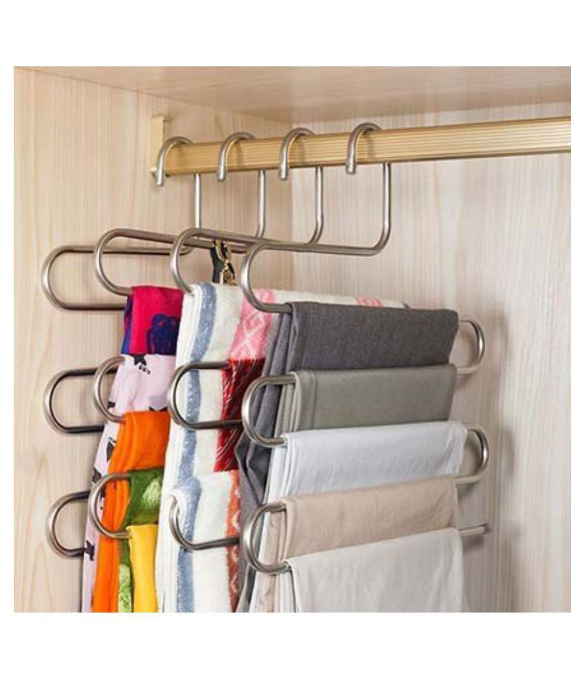 YUTIRITI 2 Pc 'S' Shape Stainless Steel 5 Layer Pant Cloth Stand Hanger, Cupboard Organiser Space Saving Hanger