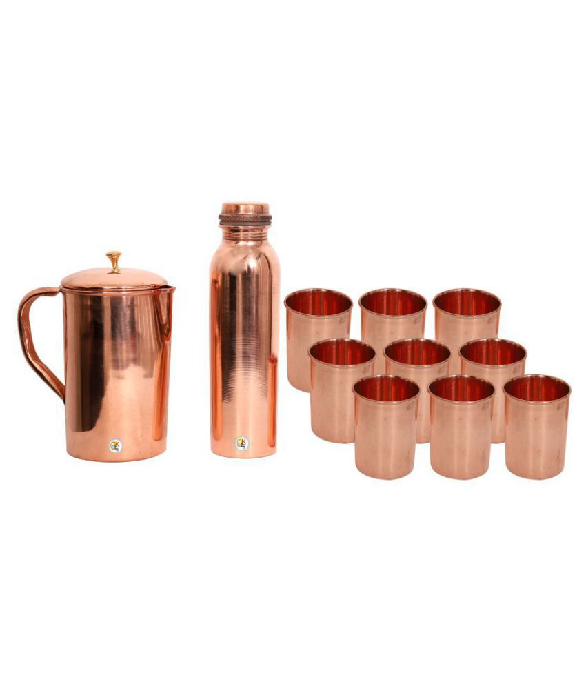 KDT Copper Jug Pitcher With Bottle and 9 Glass 11 Pcs Jug and Glass Combo