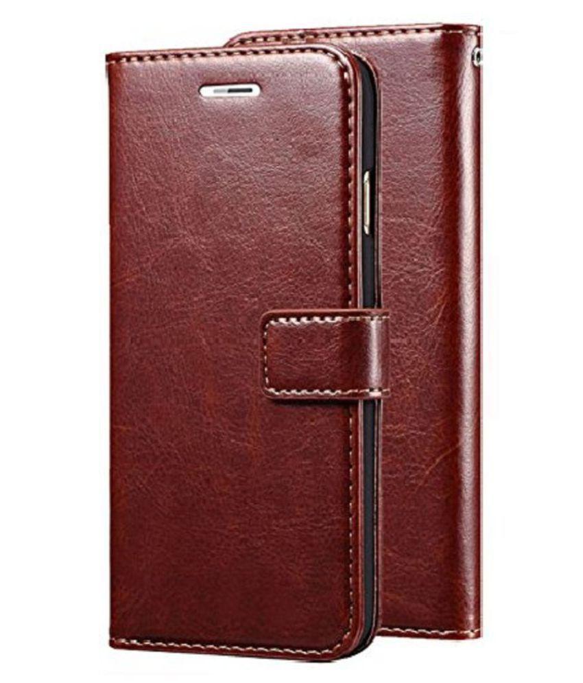 Vivo Y55 Flip Cover by Kosher Traders - Brown Original Vintage Look Leather Wallet Case