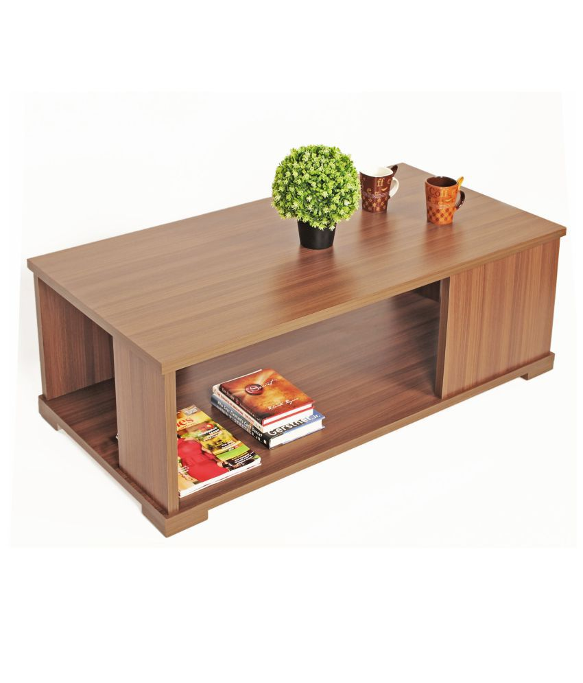 Bluewud Noel Coffee Table with Shelves(Large, Walnut)