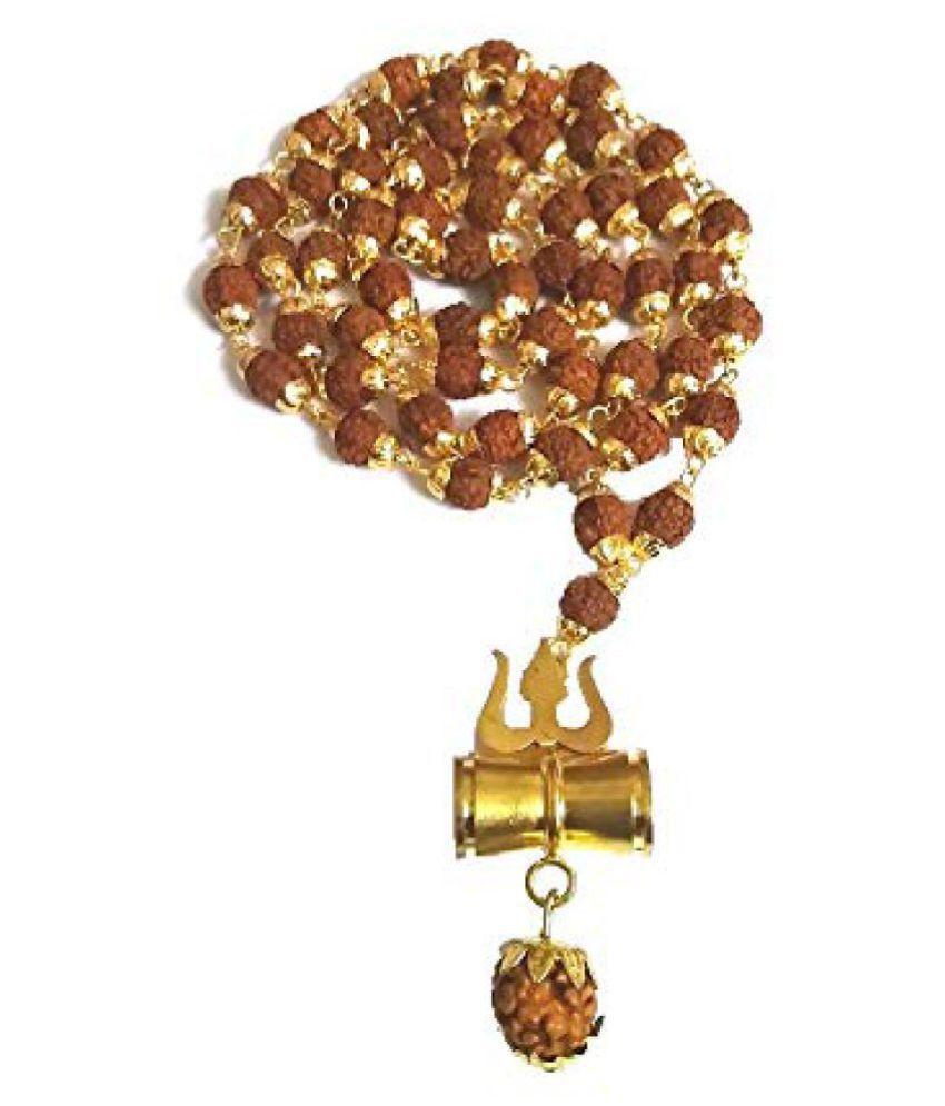 Shiv Shakti Kavach 5 Mukhi Rudraksha Mala With Shiv Trishul & Damru Brass Necklace Brass Brass Pendant Set