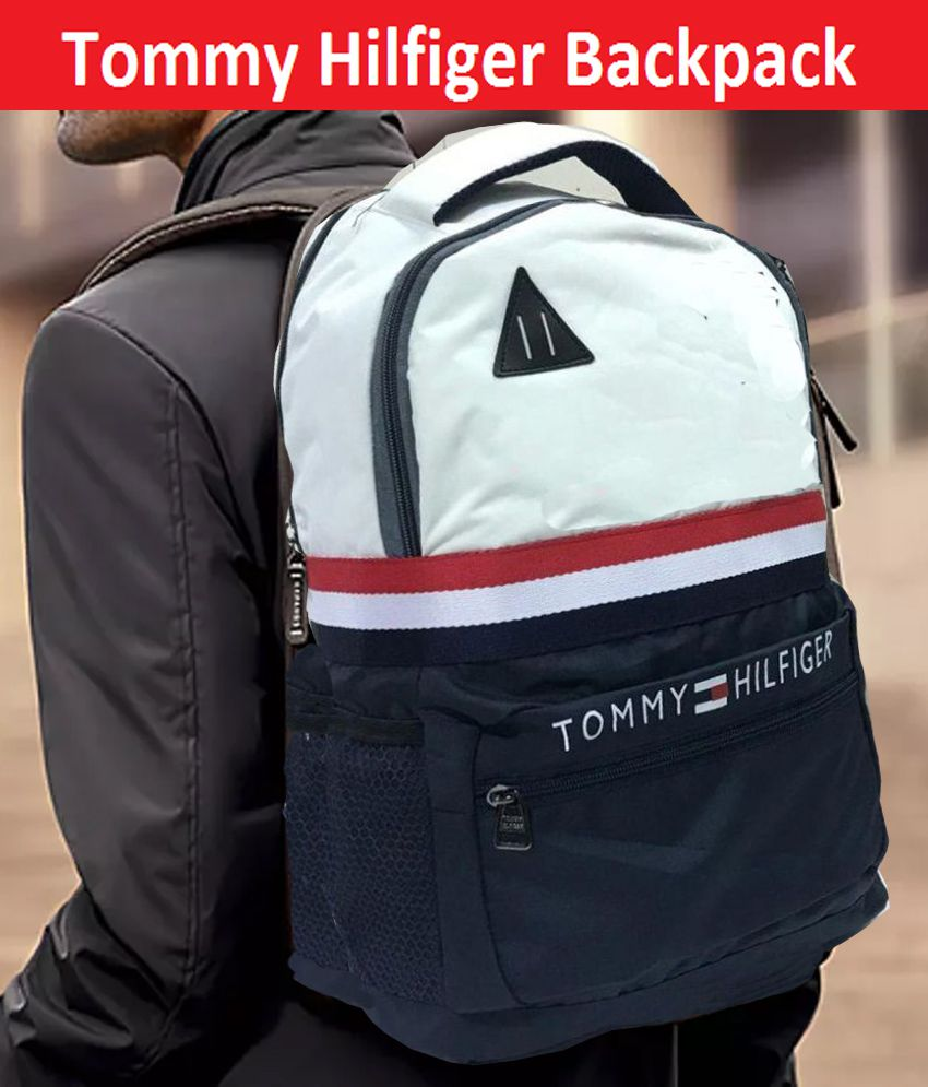Tommy Hilfiger White & Blue Polyester College Bags Backpack -22 Ltrs carry Bag For men & Women
