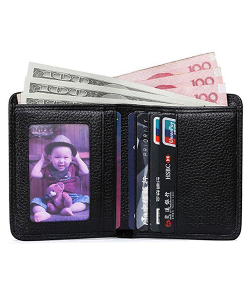 Hide&Sleek RFID Protected Black Slim Faux Leather Card Holder