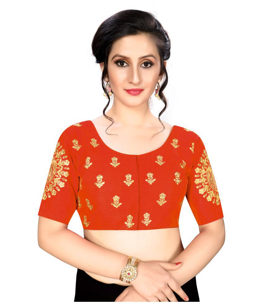 Fab Dadu Orange Silk Readymade with Pad Blouse